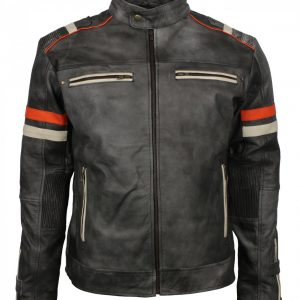 Retro Grey Man Tough Motorcycle Leather Jacket