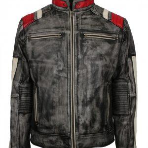 Retro Distressed Vintage Grey Leather Jacket