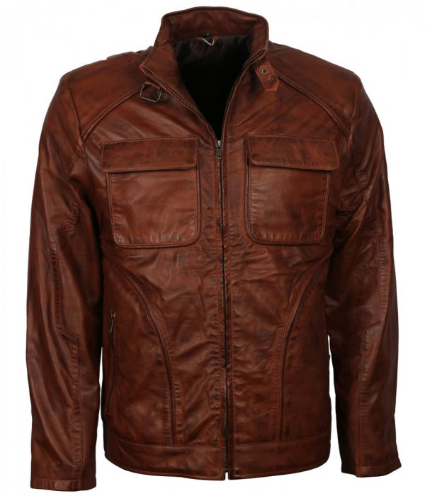 Mens Fashion Waxed Brown Real Leather Jacket