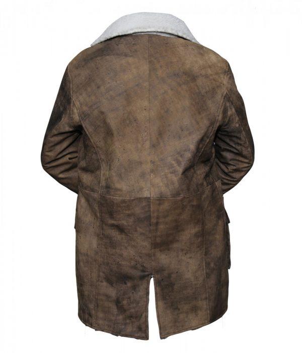 Men's Distressed Fur Brown Bane Leather Coat