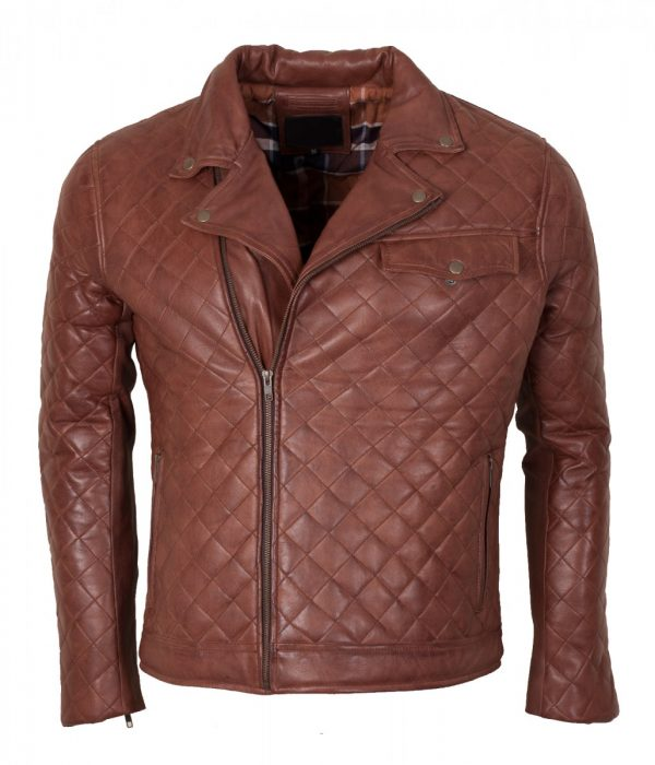 Diamond Brown Mans Leather Jacket