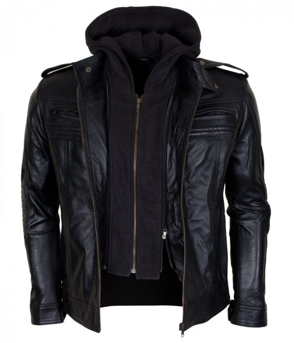 Aj Styles Mens Hooded Leather Jacket