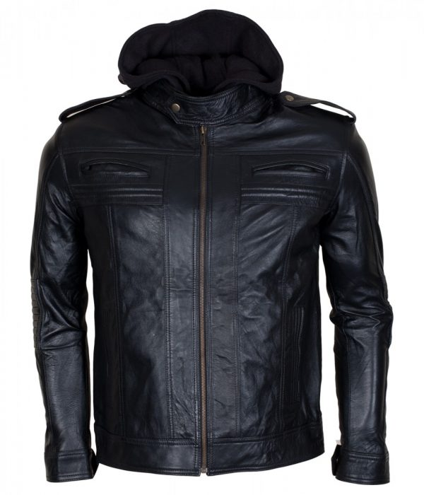 Aj Styles Mens Hooded Leather Jacket Sale USA