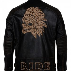 Apache Man Black Motorcycle Leather Jacket