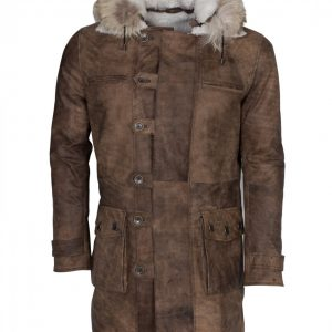 Bane Hooded Distressed Brown Leather Coat