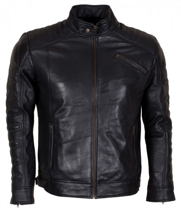 Black Padded Man Fashion Biker Leather Jacket