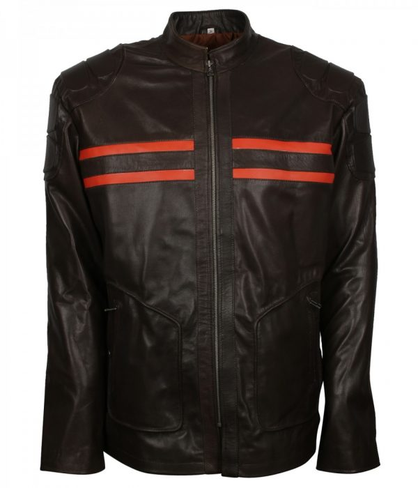 Black Real Leather Red Stripe Jacket