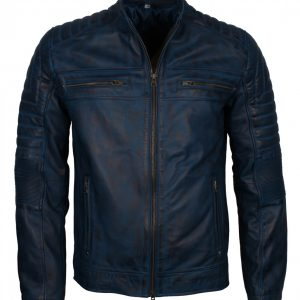 Blue-Men-Vintage-Cafe-Racer-Genuine-Leather-Jacket