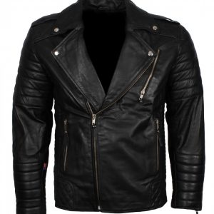 Boda Black Biker Leather Jacket