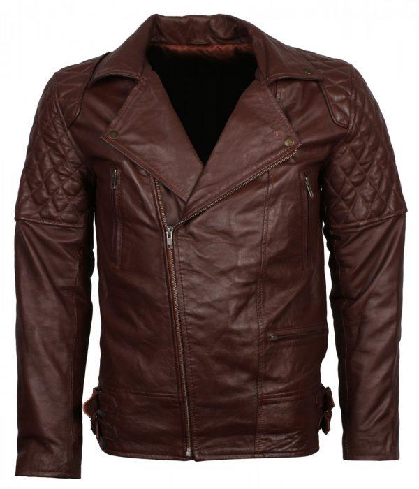 Brando Brown Leather Biker Jacket