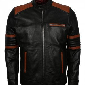 Brown Stripes Quilted Men's Black Leather Jacket