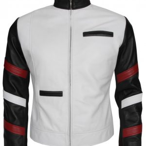 Bruce Lee Mens White Fashion Leather Jacket