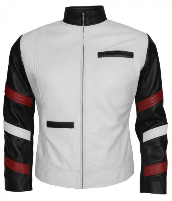 Bruce Lee Mens White Fashion Leather Jacket