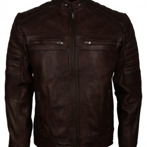 Cafe Racer Dark Brown Biker Leather Jacket
