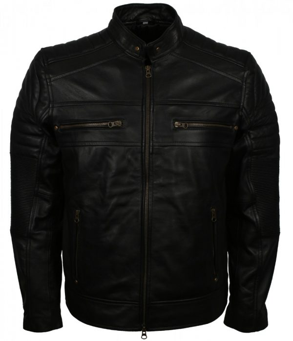 Cafe Racer Genuine Leather Black Biker Jacket