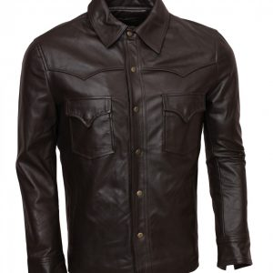 Chocolate Brown Mens Buttoned Leather Jacket