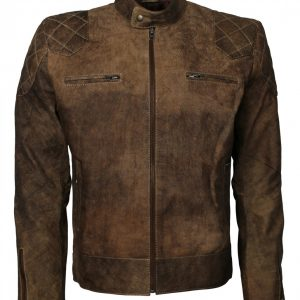 David Beckham Brown Distressed Biker Leather Jacket