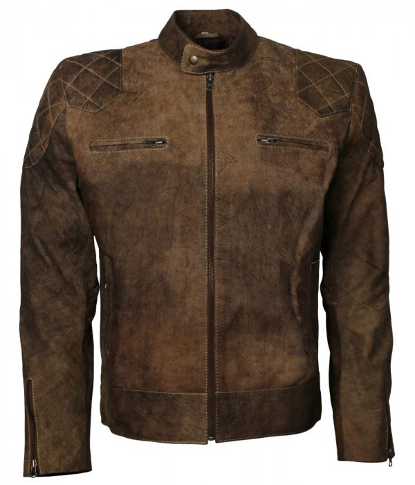 David Beckham Brown Distressed Biker Leather Jacket