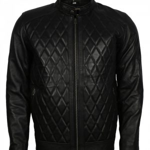 David Beckham Diamond Black Leather Jacket