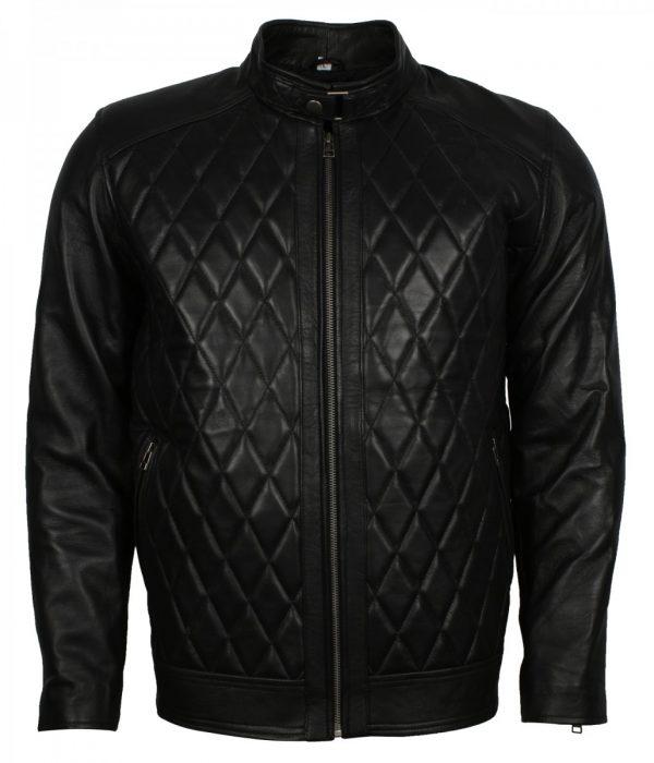 David Beckham Diamond Black Leather Jacket
