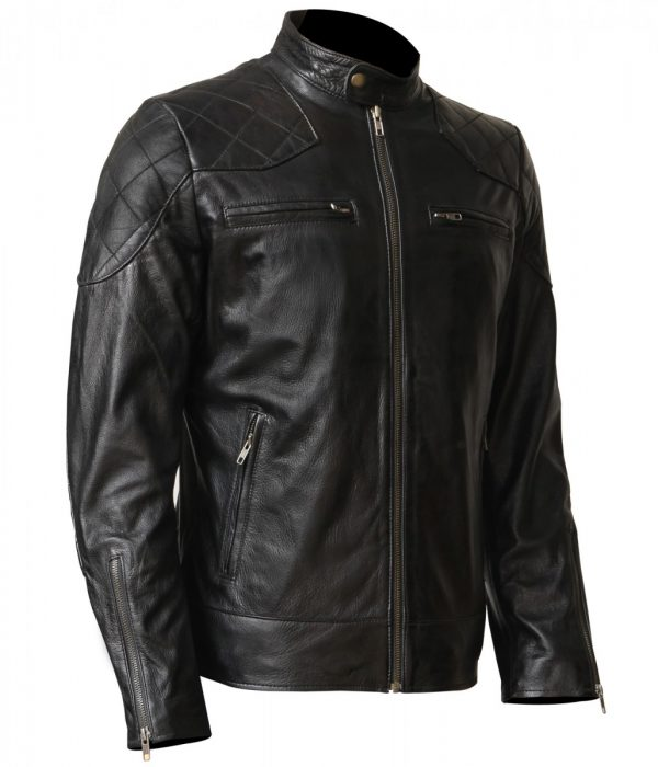 David Beckham Men's Motorcycle Leather Jacket