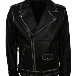 Distressed Belted Biker Leather Jacket