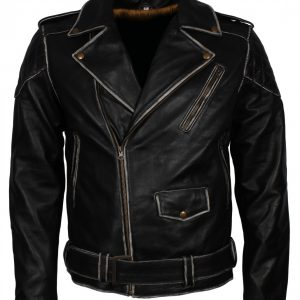 Distressed Black Motorcycle Leather Jacket