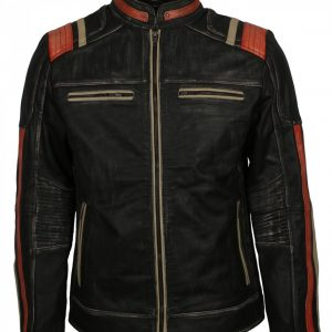 Distressed Black Vintage Retro Biker Leather Jacket