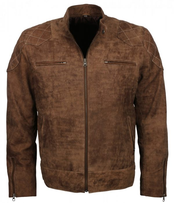 Distressed Leather Biker Brown Jacket for Men Fashion Sale USA