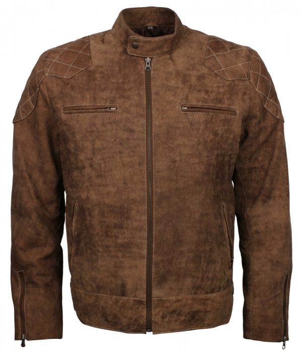 Distressed Leather Biker Brown Jacket for Men