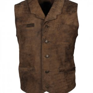 Mens Distressed Brown Bane Leather Vest