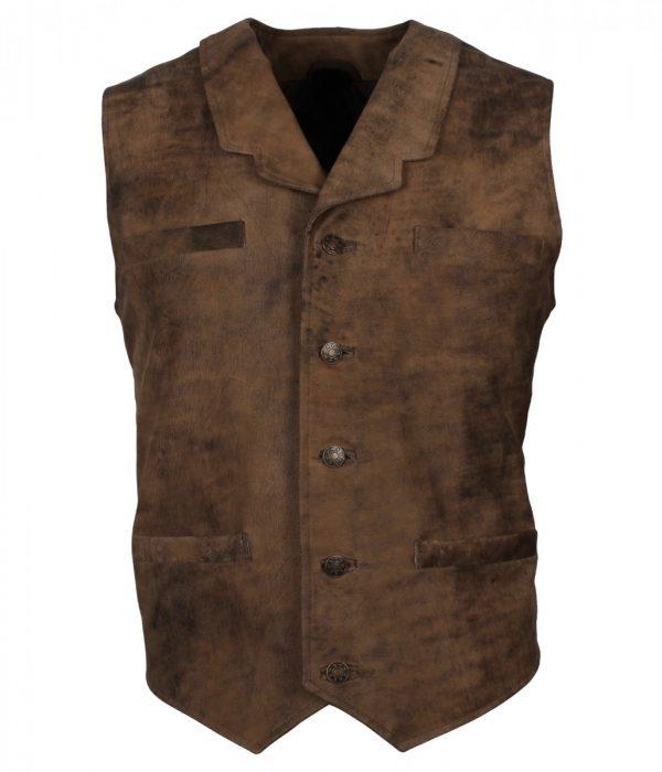 Mens Distressed Brown Bane Leather Vest