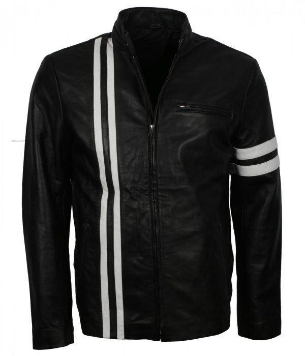 Driver White Stripes Leather Black Jacket For Sale Free Shipping USA Leather Jacket online