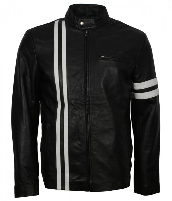 Driver White Stripes Leather Black Jacket