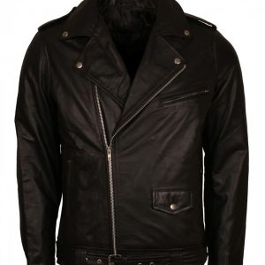 Elvis Presley Black Brando Style Biker Leather Jacket