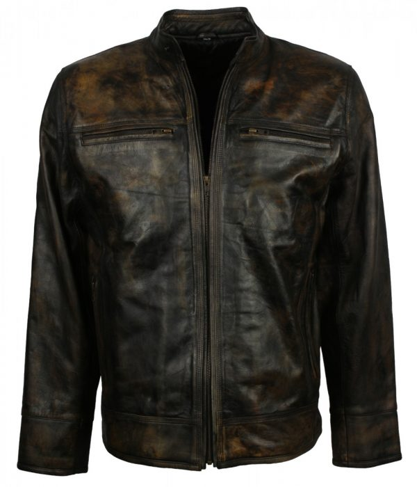 Fashion Vintage Brown Leather Jacket
