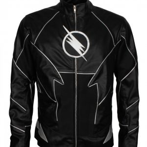 Flash Mens Black Faux Leather Jacket