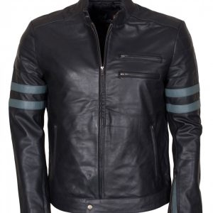 Grey Stripes Mens Fashion Leather Black Jacket