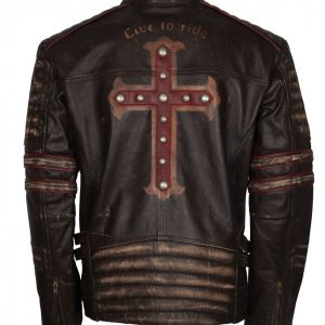 Live To Ride Men's Brown Distressed Cross Leather Jacket