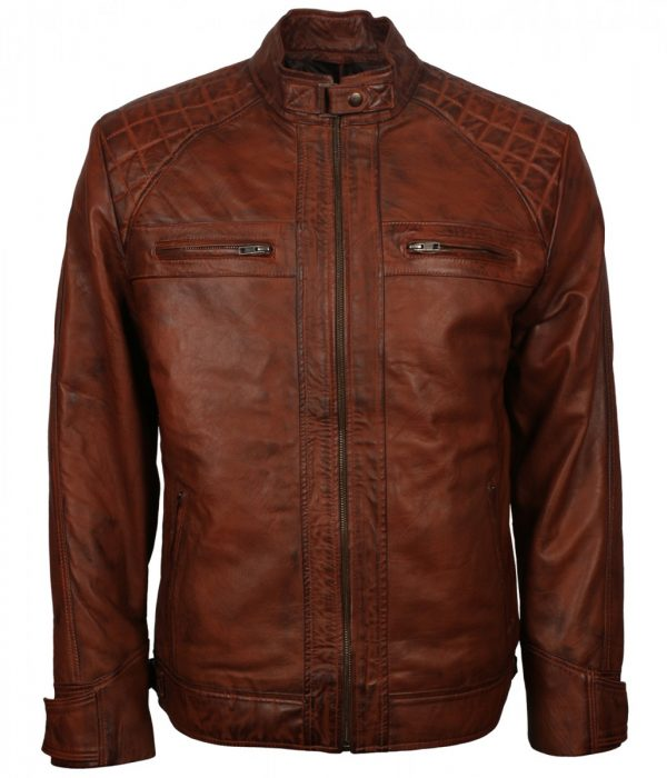 Man Diamond Quilted Leather Jacket