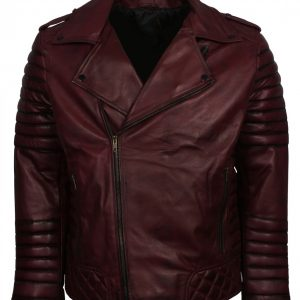 Brando Maroon Waxed Leather Motorcycle Jacket