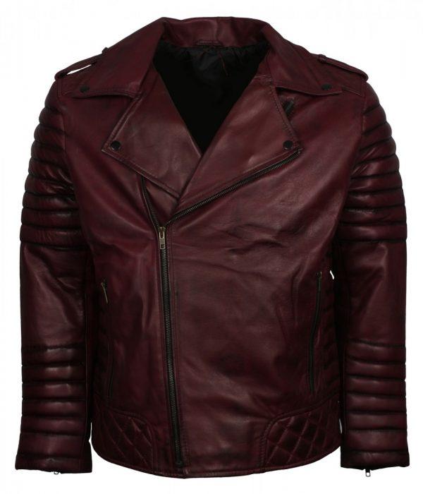 Brando Maroon Waxed Leather Motorcycle Jacket
