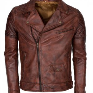 Men Brown Vintage Waxed Brando Biker Leather Jacket