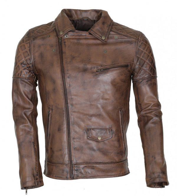 Brando Mens Vintage Dark Brown Real Leather Jacket