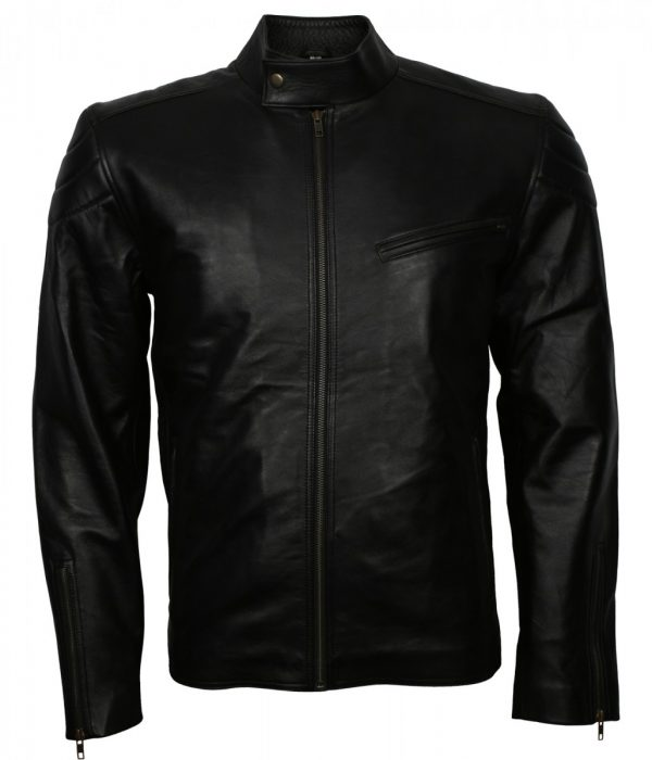 Mens Black Casual Fashion Leather Jacket