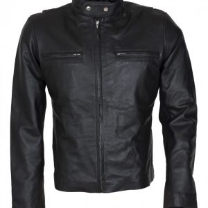 Mens Black Genuine Leather Moto Leather Jacket