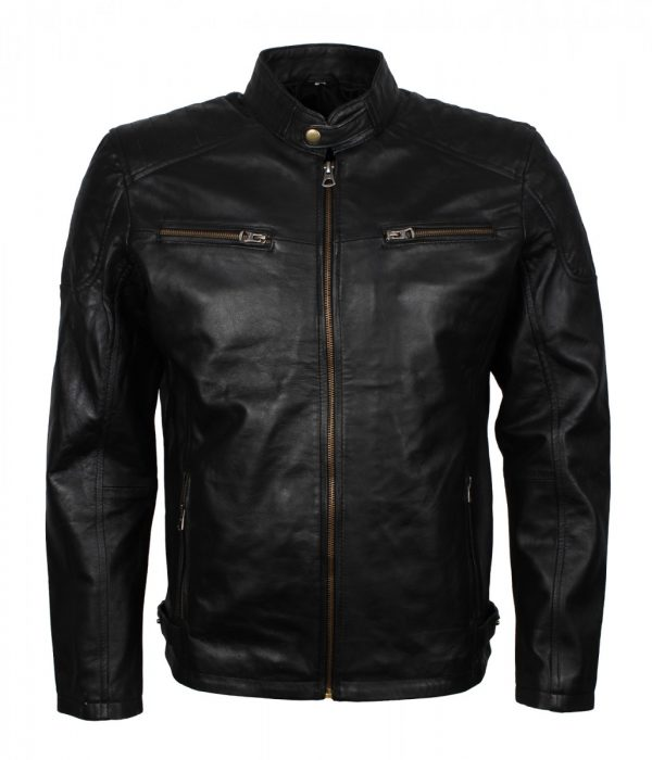 Black Genuine Leather Quilted Jacket