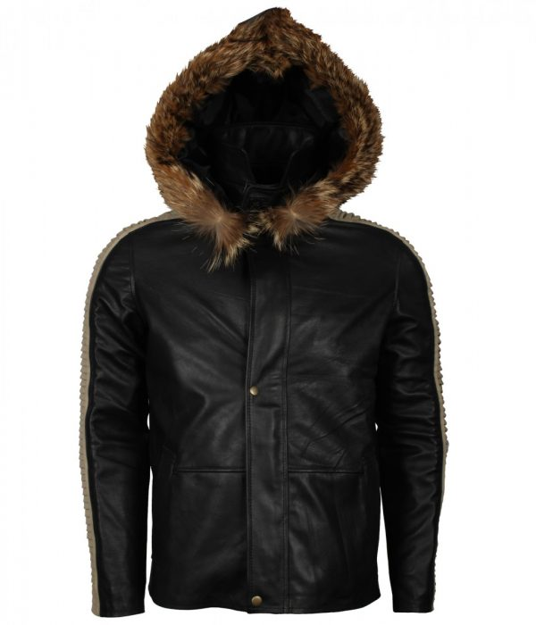 Mens Black Hooded Quilted Leather Jacket