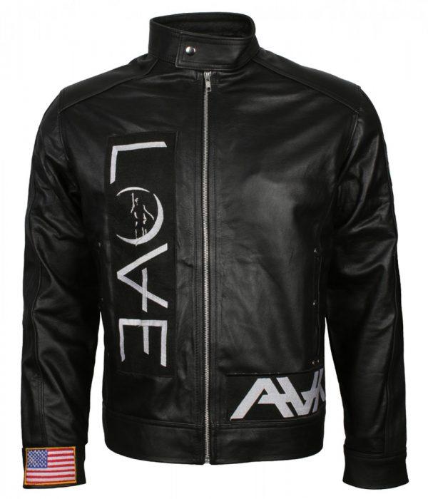 Men's Black Love Leather Jacket