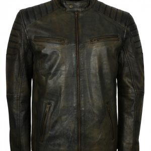 Mens Black Waxed Vintage Biker Jacket